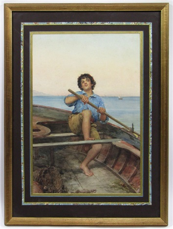 boy rowing boat by g pompiani battaglia