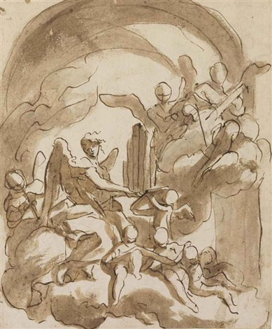 angels and putti making music in the clouds by domenico piola
