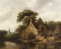 maisons au bord d'un fleuve by cornelis gerritsz decker