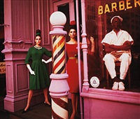 antonia + simone + barber shop, new york (vogue) by william klein