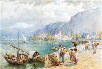 scene on one of the swiss lakes by harold joseph swanwick