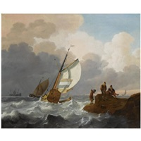 dutch sailing vessels in choppy waters, fisher folk on the rocks in the foreground, a view of a town beyond by wigerus vitringa