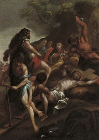 christ washing the feet of his disciples (+ christ nailed to the cross, irgr; pair) by johann franz michael rottmayr