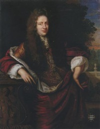 portrait of jan van der haer in a gold brocade coat with a red cape, leaning against a pedestal, a garden beyond by jan de baen