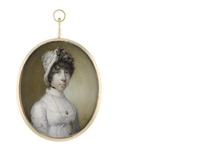 a lady, wearing white dress with lace trim and fill-in with frilled collar, her gold monocle on a long gold chain suspended from her neck and secured beneath her bust by horace hone