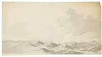 boat in heavy sea (+ neptune, verso) by willem van de velde the elder