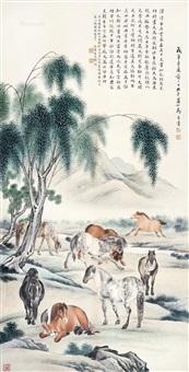 八骏图 镜心 设色纸本 by ma jin
