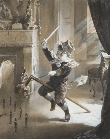 farandole denfants costumés et le jeune hussard 2 works by henry jules jean geoffroy