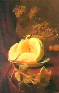 nature morte au melon et aux raisins by elie joseph laurent