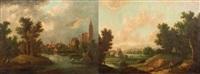 paysage de rivière près d'une ville et paysage de campagne (pair) by german school (18)
