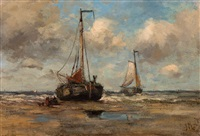 moored barge on the beach by jacob henricus maris