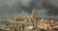 a winter landscape with figures playing and skating on the ice at the edge of a town by jan abrahamsz beerstraten