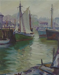 boats in a harbor by john e. hesse