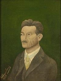 portrait d'homme à la chemise rayée by andré bauchant