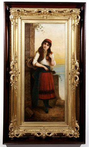 gypsy girl with guitar by egisto ferroni