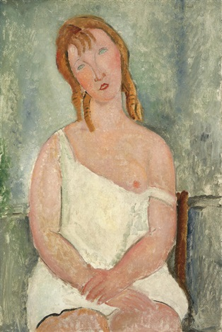 jeune fille assise en chemise by amedeo modigliani