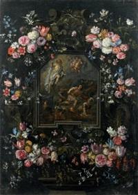 la résurrection du christ dans une guirlande de fleurs by nicolaes van veerendael