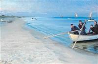 skagensfiskere gaa ud. tre fiskere i en hvid baad, hvoraf kun et stykke ses by peder severin krøyer