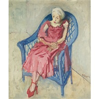portrait of an eldery woman in a blue chair by moses soyer