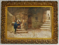 village scene with couple on the stairs in subiaco by scipione simoni