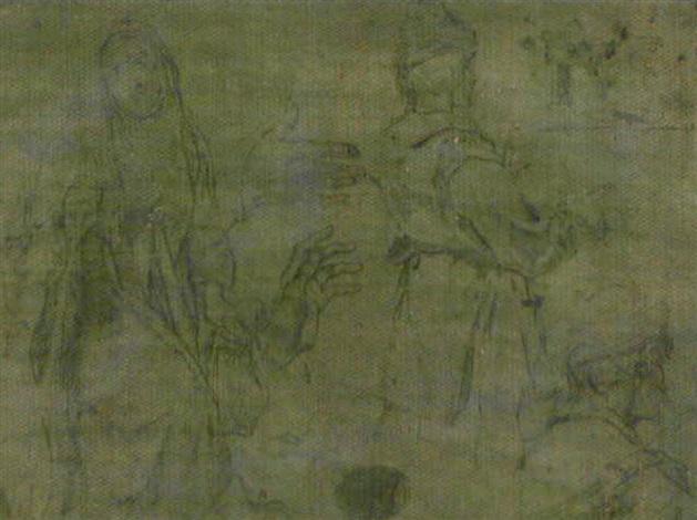 etudes pour un sainte un homme au turban vu de dos reprises de la tête et des mains by jacopo da empoli chimenti