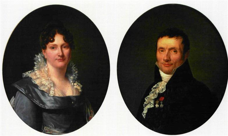 portrait dhomme portrait de femme pair by henri françois riesener