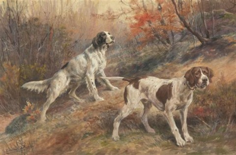 hunting dogs on point by edmund henry osthaus