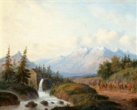 a mountain landscape with a watermill by carl eduard ahrendts