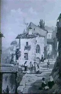 an alphine village street scene by johan zielke