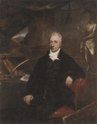 portrait of a gentleman, henry grattan (?), in a black suit, at a writing desk, a folio by his side, before a classical sculpture, a landscape beyond by maria spilsbury