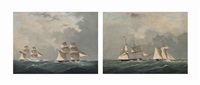 the royal navy brig h.m.s. pantaloon and waterwitch...; the royal yacht squadron's waterwitch and the royal navy... (pair) by william john huggins