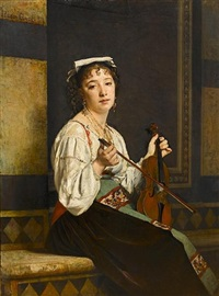 la musicienne italienne by pierre paul léon glaize