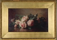 pink roses beside a glass bowl by anna eliza hardy