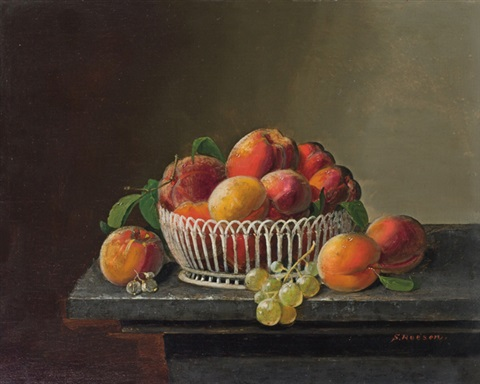 peaches and grapes in a basket by severin roesen