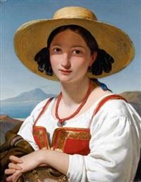 napolitaine au chapeau de paille et collier de corail devant la baie de naples by jan adam janszoon kruseman