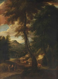 a hilly forest landscape with travellers and cattle on a path by cornelis huysmans