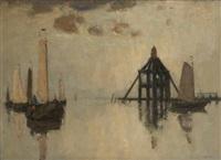 barque de pêche sous voile arrivant un port by richard baseleer