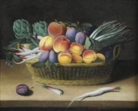corbeille de fruits sur un entablement by jacob van hulsdonck
