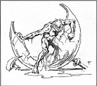 apish man emerging from shattered sphere by frank frazetta