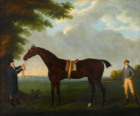 diamond, held by a groom, with his jockey dennis fitzpatrick, in a landscape by john nost sartorius