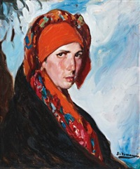 woman with a red scarf by fernando alvarez de sotomayor y zaragoza