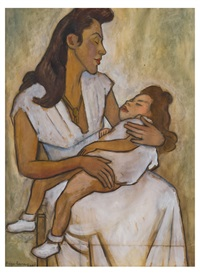 maternidad (retrato de anita antúnez y su hija) by diego rivera