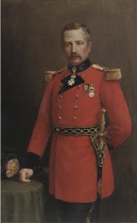 portrait of captain james cumming dewar of vogrie, three-quarter-length, in full-uniform, his right hand resting on a table by j. alison