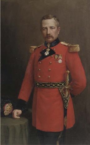 portrait of captain james cumming dewar of vogrie three quarter length in full uniform his right hand resting on a table by j alison