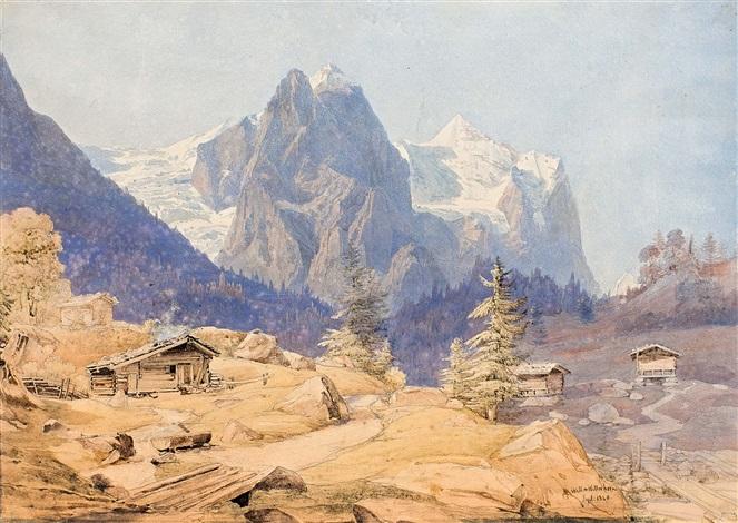 vue du wetterhorn by alexandre calame