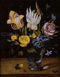vase de fleurs, fleurs et insectes sur un entablement by jan baptist fornenburgh