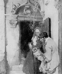 man examining jug as woman looks on by walt louderback