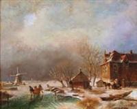 paysage d'hiver animé au moulin by a. de groote