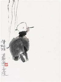 牧牛图 镜心 设色纸本 by zhou jingxin