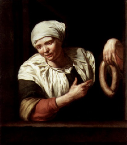 a woman at a casement holding a string of sausages and making a lewd gesture by jan van pee